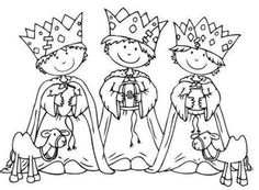 Coloring Three Kings Children In Spanish.I think it's a free coloring site Christmas Activities, Christmas Crafts For Kids, Christmas Printables, Christmas Colors, Christmas Fun, Colouring Pages, Free Coloring, Coloring Pages For Kids, Coloring Books