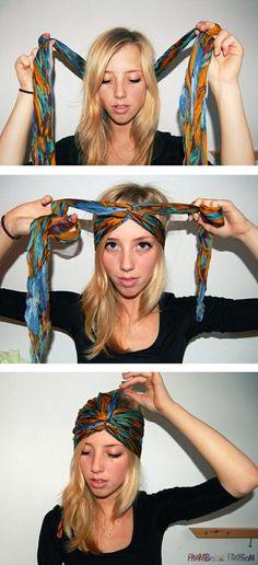 Comment mettre et porter un foulard en turban, la technique pour se coiffer les cheveux avec ses foulard turban autour de la tête cheveux courts et longs.