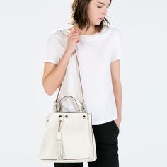 ZARA - WOMAN - LEATHER BUCKET BAG WITH TASSELS