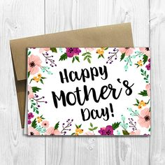 Floral Watercolor Happy Mother's Day - 5x7 PRINTED Greeting Card - Notecard by DesignsLM on Etsy