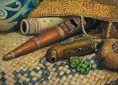 Maori Flutes by Peter Jean Caley Polynesian People, Long White Cloud, Maori People, Maori Designs, New Zealand Art, Maori Art, Gelli Printing, Soul Art, Bone Carving
