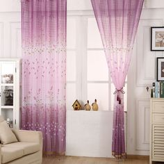 For living room Tulips or maple leaf Embroidered Chinese luxury 3D Window Curtains fabric Tulle Sheer Curtains
