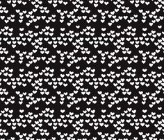 Pastel love hearts tossed hand drawn illustration pattern scandinavian style in neutral black and white XS fabric surface design by Little Smilemakers on Spoonflower - custom fabric and wallpaper inspiration