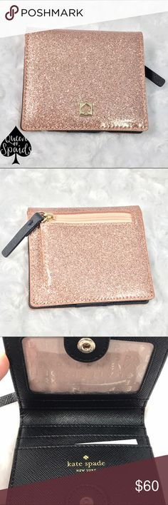 """KSNY Mavis Street Serenade in Rose Gold Perfect little mini wallet! Sparkle patent PVC with leather trim.  ♠️ Small wallet with a snap closure ♠️ Capital Kate Jacquard lining ♠️ 4 credit card slots, ID window, billfold, and an exterior zipper pocket. ♠️KSNY Gold printed signature with stud ♠️ 3.7"""" H x 3.3"""" W   CLOSET RULES ♠️ I do not trade ♠️ I do not conduct any transactions off Poshmark ♠️ Please use offer button to negotiate kate spade Bags Wallets"""