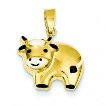 14K Gold Enameled Cow Charm