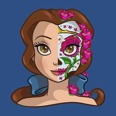 In todays Daily Disney Tee we are taken another look at the Disney Princess Sugar Skull series designed by Ellador. 4 new Disney Princesses has been released. To see even more Disney tees click HER. Disney Princess Belle, Princesa Disney Bella, Bella Disney, Princesse Disney Swag, Disney Amor, Disney Girls, Disney Love, Disney Magic, Disney And Dreamworks