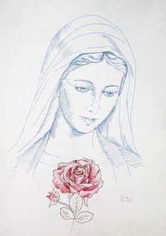 Blessed most beautiful Mother Mary Jesus Mother, Blessed Mother Mary, Blessed Virgin Mary, Mother Mary Images, Images Of Mary, Mama Mary, Jesus Drawings, Art Drawings, Catholic Art