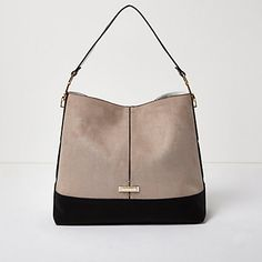 eaa602b657b Beige contrast panel slouch handbag  64.00 Handbags For School, School Bags,  River Island Bags