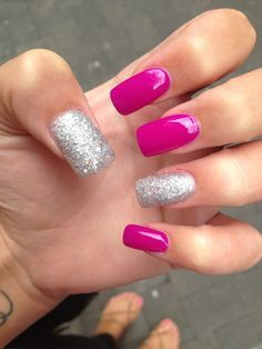 Long Pink & Silver Glittery Nails