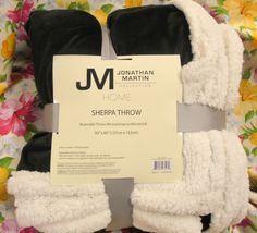 JM COLLECTION BLACK Mink Sherpa Throw * Reversible * Super Soft * Cozy #JonathanMartinJMCollections #MinkSherpaThrow