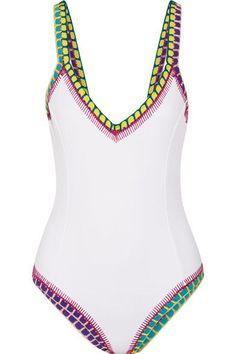 36621958fd2f6 Kiini - Yaz Crochet-trimmed Swimsuit - White Crochet Bathing Suits, Beach  Swimsuits,