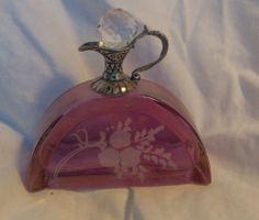 Vintage Purple Stained Glass Sterling Perfum Bottle Cristallo E Argento Italiani