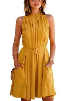 Yellow Tie cintura Apressado Vestido balanço