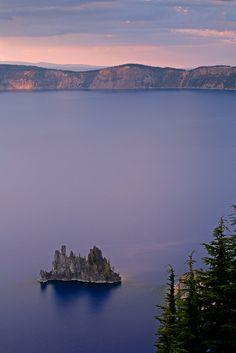 Sunset over Phantom Ship, Crater Lake National Park, Oregon