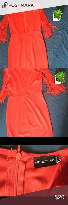 Funky red hot dress Knee length red hot fitted dress revealing cleavage area pretty little thing Dresses Midi