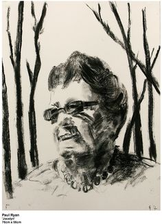 Paul Ryan, 'Jocelyn' 2014 The work is a portrait of Jocelyn with burnt out trees behind her. The street where she lost her house is Buena Vista rd. I have called the drawing Buena Vista, Nada Casa, which translates to beautiful view, no house.