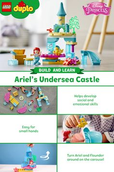 Calling all Disney fans! Behold the LEGO DUPLO Ariel's Undersea Castle, a set designed to stimulate and inspire the minds of little mermaids, mermen, and humans alike! Disney Little Mermaids, The Little Mermaid, Ariel And Flounder, Learning Through Play, Lego Duplo, Lego Building, Lego Brick, Disney S, Your Child