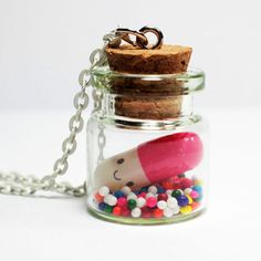 Kawaii Happy Pill Necklace - Miniature Bottle Necklace with Rainbow Sprinkles and happy face pill capsule