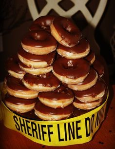 donuts tower next to keg Police Retirement Party, Police Party, Retirement Cakes, Retirement Parties, Retirement Ideas, Police Cakes, Graduation Party Themes, Graduation Ideas, Retirement Decorations