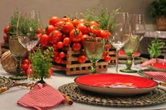 Summer bounty of tomatoes transformed into a centerpiece.  Clumps of fresh thyme for fragrance.