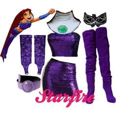 Ideas to put together a Starfire costume for Ellie.but much less revealing than this! Casual Cosplay, Cosplay Outfits, Anime Outfits, Disney Outfits, Cosplay Costumes, Cute Outfits, Cosplay Makeup, Disney Fashion, Teen Titans Outfits