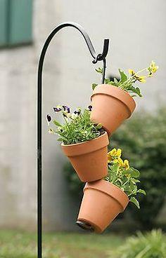 Black Wrought Iron Flower Pot Arm - Lawn, Garden, Deck, Patio, Planter Hanger