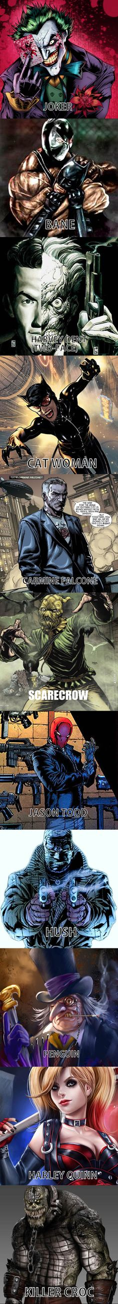 BATMAN VILLIANS Joker, Bane, Carmine Falcone, Scarecrow, Penguin, Harley Quinn, Hush, Killer Croc, Jason Todd, Catwoman ,Two Face
