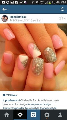 Light pink glitter geometric solar manicure #solarpowder #colorpowder #notpolish