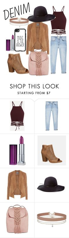 """""""denim◇style"""" by theminimalist01 ❤ liked on Polyvore featuring MANGO, Maybelline, Avenue, Dorothy Perkins, Scala, T-shirt & Jeans, Miss Selfridge and Casetify"""