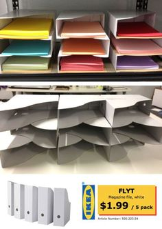 Great idea for storing paper. Cardboard magazine boxes from Ikea
