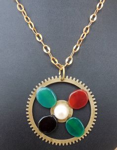 Steampunk Pendant using vintage watch parts gear by Indiasteampunk