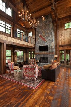 MossCreek Luxury Log and Timber Frame Homes. !look at that beautiful floor. Balcony edge pretty too.