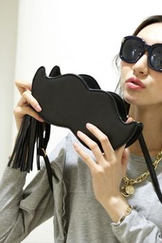 Fashion Mustache Shape Tassel Cluth Bag - OASAP.com