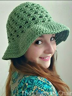 FREE - CROCHET - intermediate level ~ Lazy Daisy Floppy Sun Hat - free crochet pattern - The Lavender Chair Crochet Gratis, Crochet Cap, All Free Crochet, Crochet Beanie, Crochet Stitches, Crochet Hooks, Crochet Patterns, Double Crochet, Hat Patterns