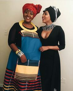Love the necklace on the lady who is on the right side African Wedding Attire, African Attire, African Wear, African Women, African Dress, African Weddings, African Beauty, South African Traditional Dresses, African Traditional Wedding