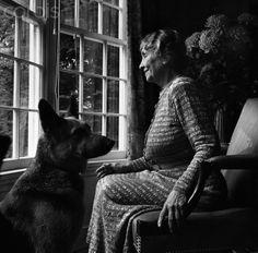 Helen Keller and her german shepherd guide dog