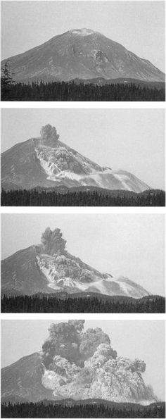 Mt St Helens during eruption and profile collapse-May 1980