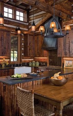 And when it's dinner time, even the kitchen blends in with the great outdoors right down to the aged timbers and their rich textures ...    Special Thanks to Big Sky Journal  photo by Gordon Gregory - a Montana-based photographer