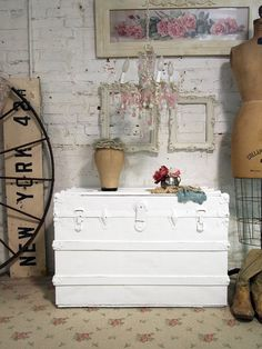 Reserve For Kristin Painted Cottage Chic Shabby White Vintage Trunk Vf249