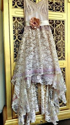 ivory taupe & pale mauve embroidered chiffon by mermaidmisskristin, $160.00