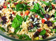 Greek Orzo & Spinach Salad from Nana's Tasty Traditions is a better version of Whole Foods' Greek orzo & Spinach salad! It is loaded with yummy goodness and makes a beautiful accompaniment for any grilled meat or fancy sandwich. Awesome to serve at a potluck too. Make a full batch and enjoy it all week. You will love it!
