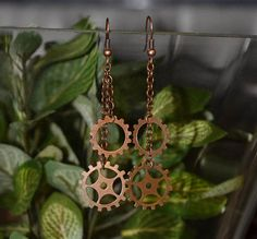 Geared Steampunk Dangle Earrings