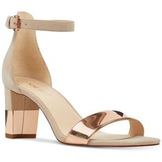 Nine West Pruce Sandals ($79) ❤ liked on Polyvore featuring shoes, sandals, dress sandals, block heel sandals, nine west, dressy sandals and ankle strap shoes #tananklestrapsheels