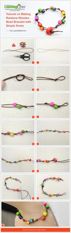 Picture Tutorial on Making Rainbow Wooden Bead Bracelet with Simple Knots.