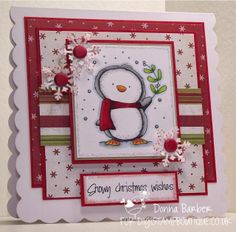 Hello, It's Donna here to show you a card I have made using the Cute Penguin Set . He has been coloured with Promarkers and I have ke.