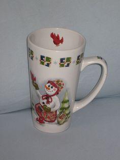 Snowman Coffee Mug Cardinal Bird Seed Apron Presents Graphics Stoneware #HY11 #unbranded