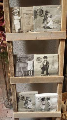 Steigerhouten decoratieladder, leuk voor foto's en/of herinneringen 200 x 35 als getoond