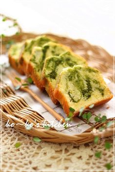 Matcha (Japanese green tea) marbled pound cake From Japanese website ~ www.cookpad.com  (^~^)モグモグ