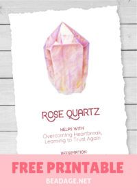Rose Quartz Free Printable Gemstone Properties Card #gemstones #crystals