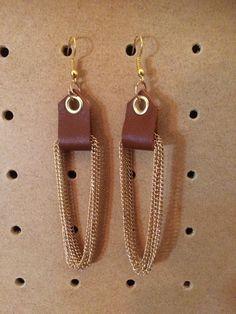 Boucles cuir camel et chainette dorée